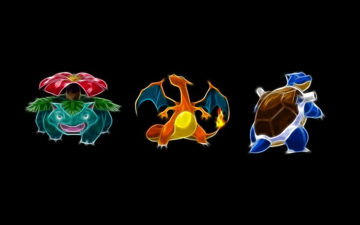 Pokemon Venusaur Blastoise Charizard Black Background