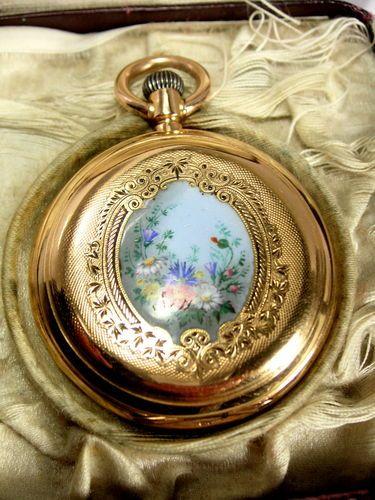 Antique Tiffany Geneve 18ct Enamel Hunter Pocket Watch