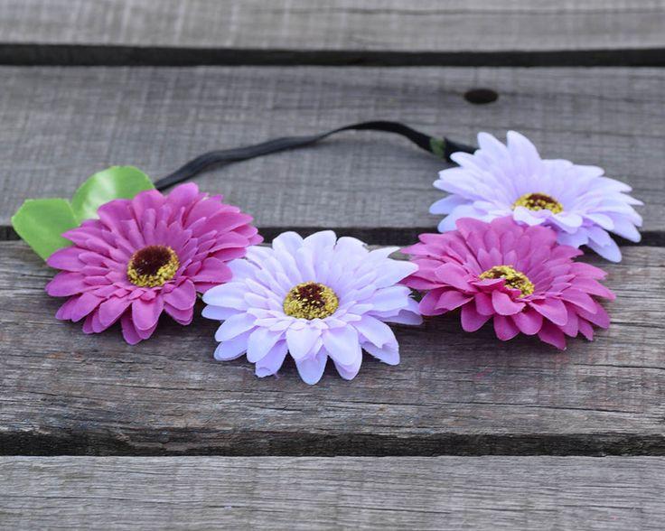 CXADDITIONS Gradient Cloth Cosmos Leaf Wreath BLACK Stretch Headband Bohemian Floral Flower Crown Party Wedding Hair Band #Affiliate
