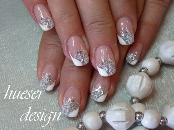 42 best wedding nail art images on pinterest enamels makeup and silver sparkle and opaque white nail design and white art prinsesfo Images