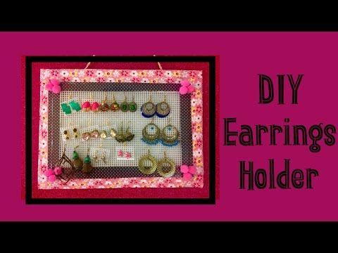 DIY Earrings Holder | Earring display and organizer | How to make easy & inexpenaive earrings holder - YouTube