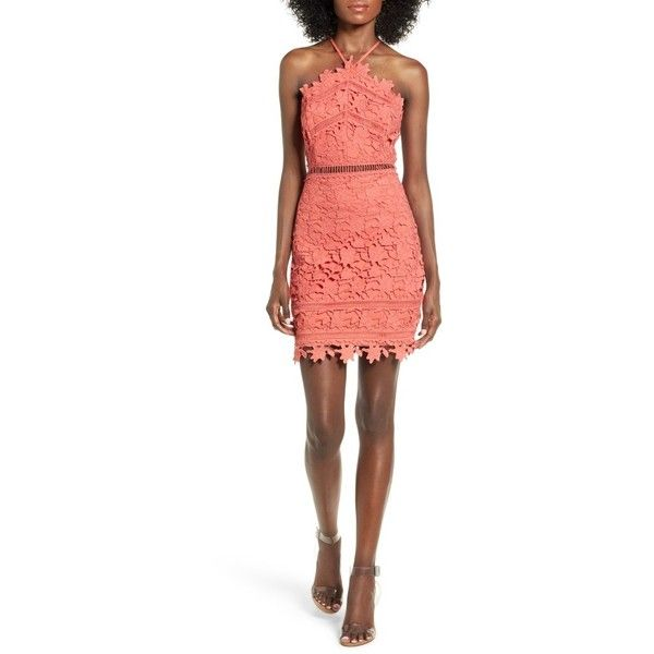 Women's Astr The Label Lace Body-Con Dress ($85) ❤ liked on Polyvore featuring dresses, pink coral, lace dress, white crochet dresses, bodycon cocktail dress, white cocktail dress and pink lace dress
