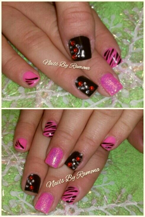 Gel nail polish with nail art. Nails By Ramona