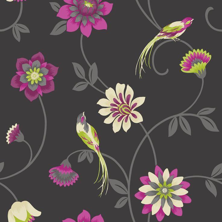 Fine Decor Eden Bird Wallpaper Black / Pink / Green love wall paper
