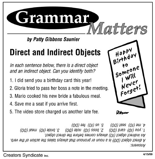 direct and indirect objects by patty saunier on a syndicate of talent grammar. Black Bedroom Furniture Sets. Home Design Ideas