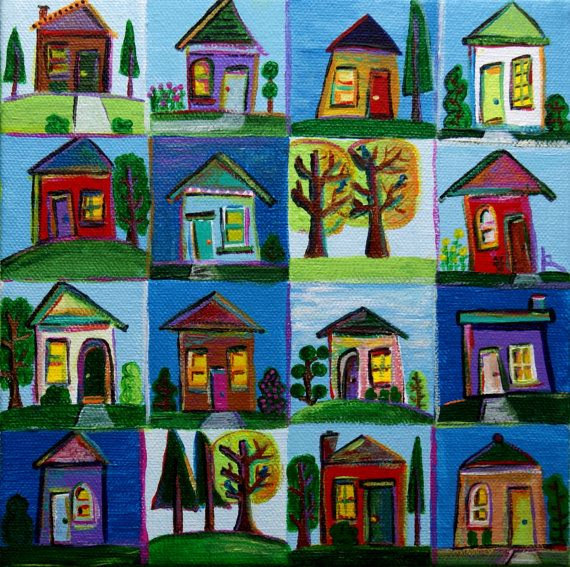 Original acrylic painting grid painting of houses by artgirl59, $50.00