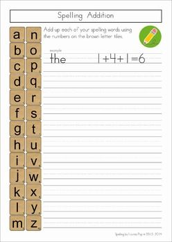 Spelling / Word Work - 17 printable worksheets that you can use with any spelling list. A printable from the unit: spelling addition - children add up their spelling words points to see which word will win. So much FUN!