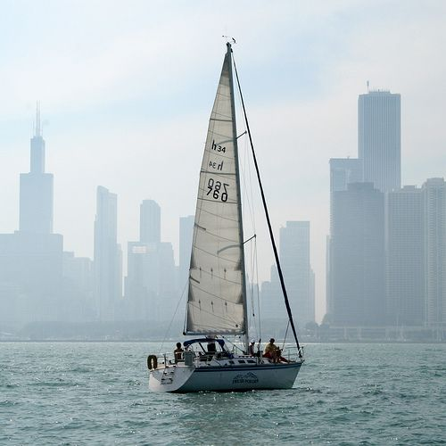 : Sail Boats, Lighthouses Sailboats, Sailing Bella, Sailboats Feeling, Beautiful Chicago, Billowing Sails, City Sailboat, Sailing Yatchs