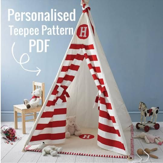 Personalised Teepee Pattern - PDF - Tipi Sewing pattern - Wigwam - Toy Pattern - INSTANT DOWNLOAD
