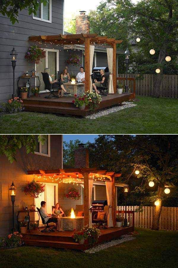 BUILD YOUR PERGOLA ABOVE A WOODEN DECK AND LIGHT IT UP WITH STRING LIGHTS