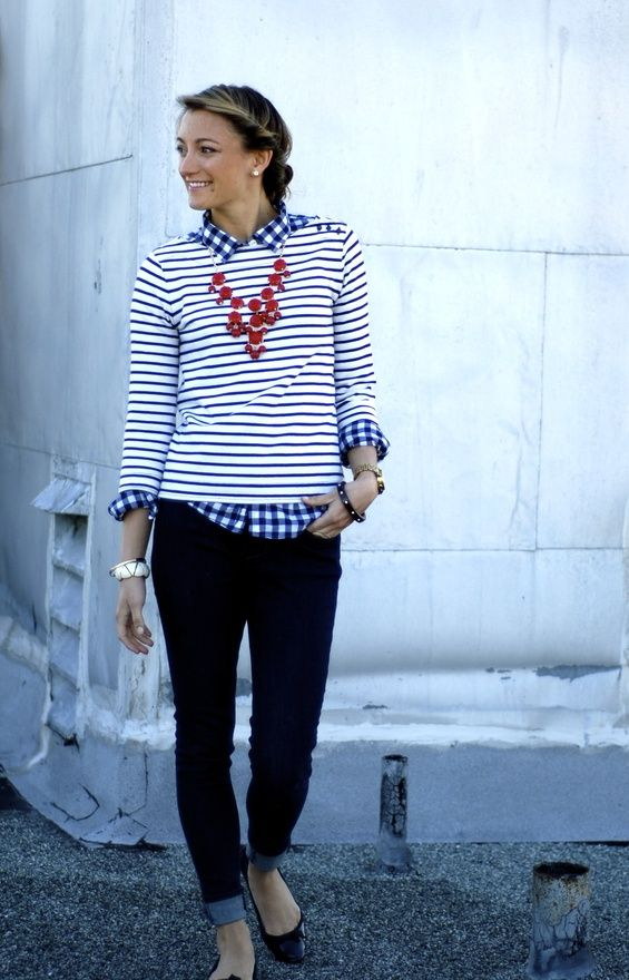 Stripes, skinnies, pattern mixing, and red bubble necklace