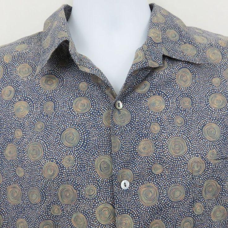 Tori Richard XL Blue Dots Circles  Hawaiian Aloha Shirt Cotton Lawn SS EUC #ToriRichard #Hawaiian
