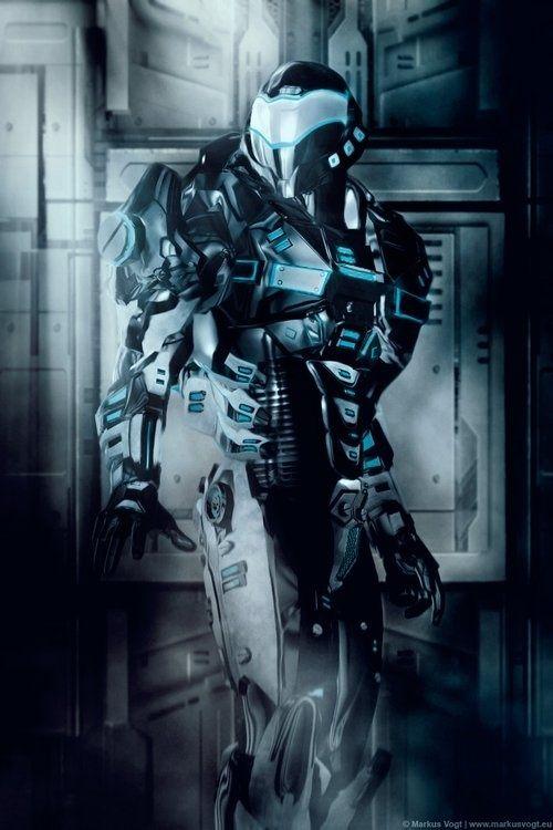 Future, Black Suits, Futuristic, Robot, Tech Corridor, Markus Vogt, futuristic suit, future soldier, cyberpunk, future warrior, helmet,armor by FuturisticNews.com