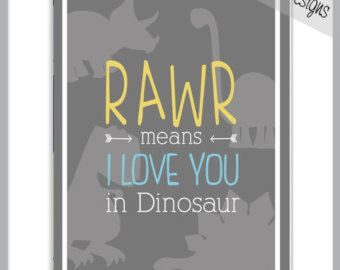 RAWR Means I LOVE You in DINOSAUR - 8x10 Print - Colours can be customized to match any room's decor - Grey Yellow and Aqua