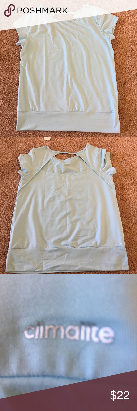 Adidas workout shirt Cutout top back, size L, elastic waist, color is represented best in photo #3 Adidas Tops Tees - Short Sleeve