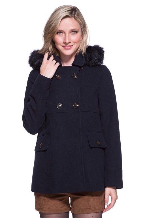 Manteau capuche bordé fausse fourrure