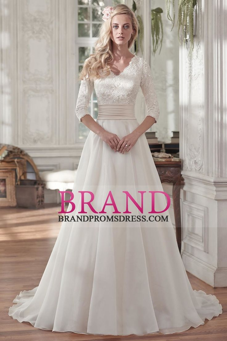 2016 V Neck Wedding Dresses 3/4 Length Sleeve With Applique And Ruffles Organza A Line