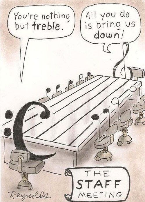 "The STAFF meeting :: . . . . . . . . . ""You're nothing but treble."" . . . . . . . . ""All you do is bring us down!"""
