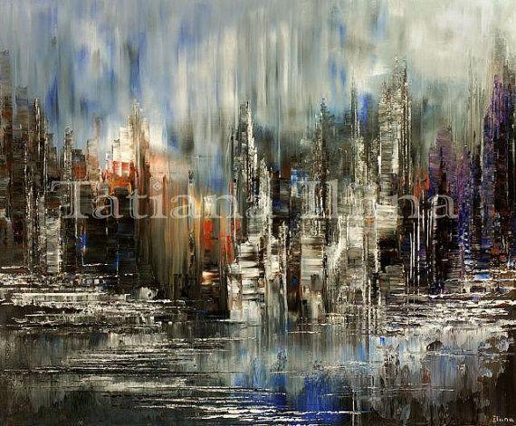 City Painting Cityscape Skyline Palette Knife by TatianasART