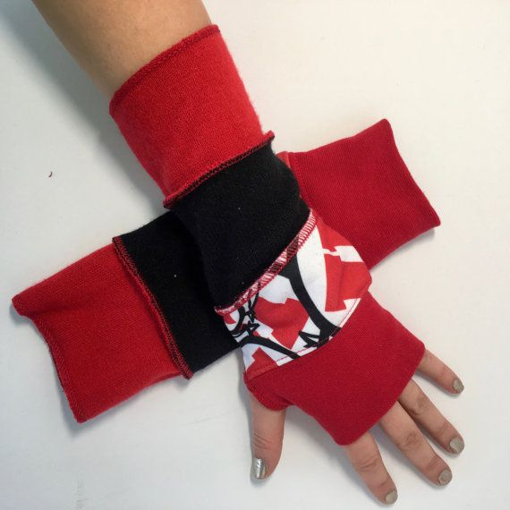 Fingerless, texting, driving gloves, long arm wrist warmers, upcycled, repurposed, sweater, winter, hand warmers, utah utes, game day gloves