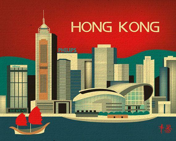 Hong Kong, China Skyline - Traveler's Destination Asian Art Poster Print for Home, Office, and Nursery - style E8-O- HK