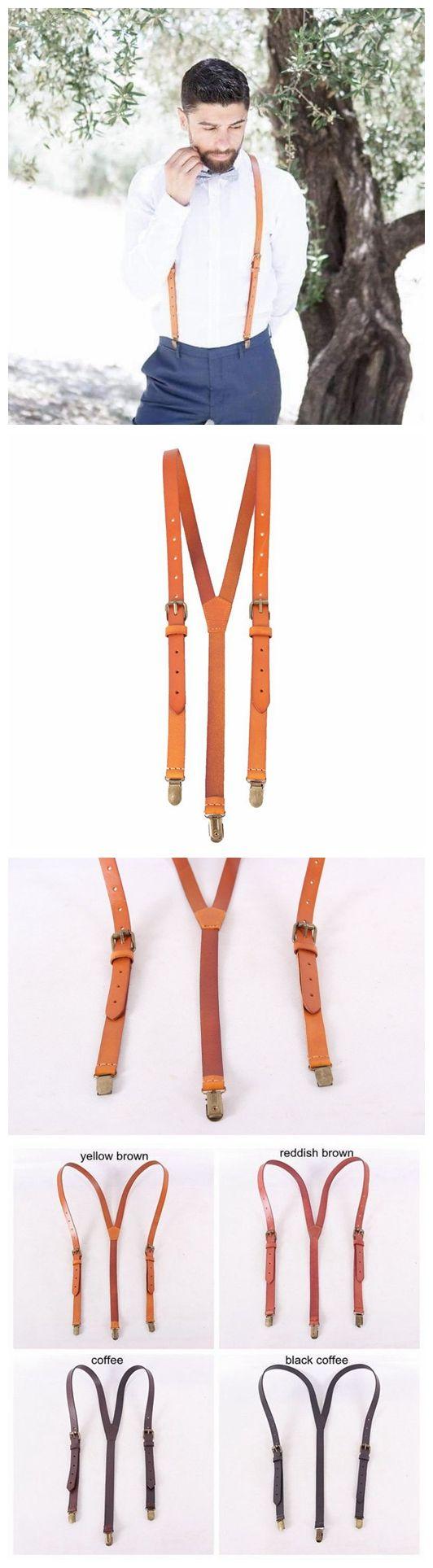 Genuine Leather Suspenders / Groomsman Wedding Suspenders in Yellow Brown 0191