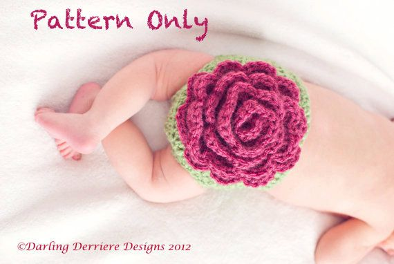 PDF Instant Download Pretty Spring Flower Diaper Cover  & Headband Crochet Pattern