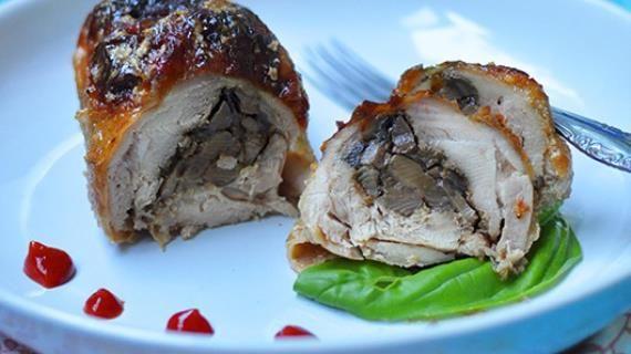 Запеченные куриные ножки (без кости), фаршированные грибами. Пошаговый рецепт с фото на Gastronom.ru
