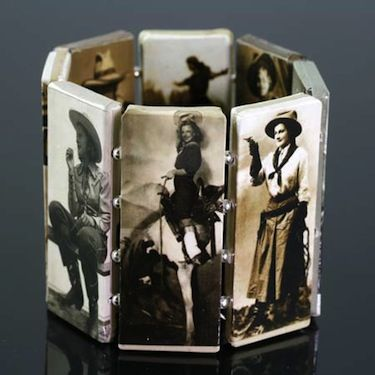 Cowgirls In Sepia Color Paper Mache Bracelet