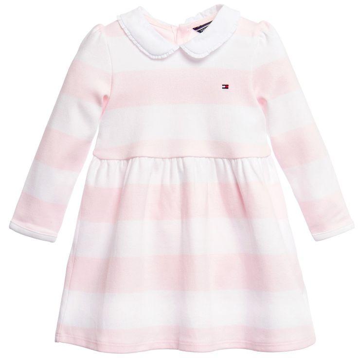Baby Girls Pink & White Stripy Cotton Dress & Knickers Set, Tommy Hilfiger, Girl