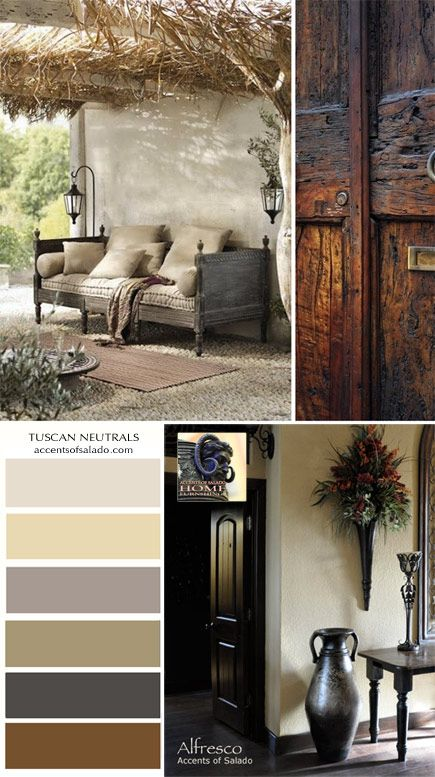 Go bold with splashes of rich neutrals, such as chocolate brown or slate gray, or go sleek and subtle with tone-on-tone white. Learn how to use neutrals in your Tuscan decorating theme. Be inspired by Accents of Salado furniture and wall decor that are perfect for a neutral Tuscan decor palette.