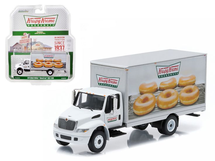 2013 International Durastar Box Van Krispy Kreme Donuts Delivery Truck HD Trucks Series 4 1/64 Diecast Model by Greenlight - Brand new 1:64 scale car model of 2013 International Durastar Box Van Krispy Kreme Donuts Delivery Truck HD Trucks Series 4 die cast car model by Greenlight. Limited Edition. Detailed Interior, Exterior. Metal Body. Comes in a blister pack. Officially Licensed Product. Dimensions Approximately L-5.5 Inches Long.-Weight: 1. Height: 5. Width: 9. Box Weight: 1. Box Width…