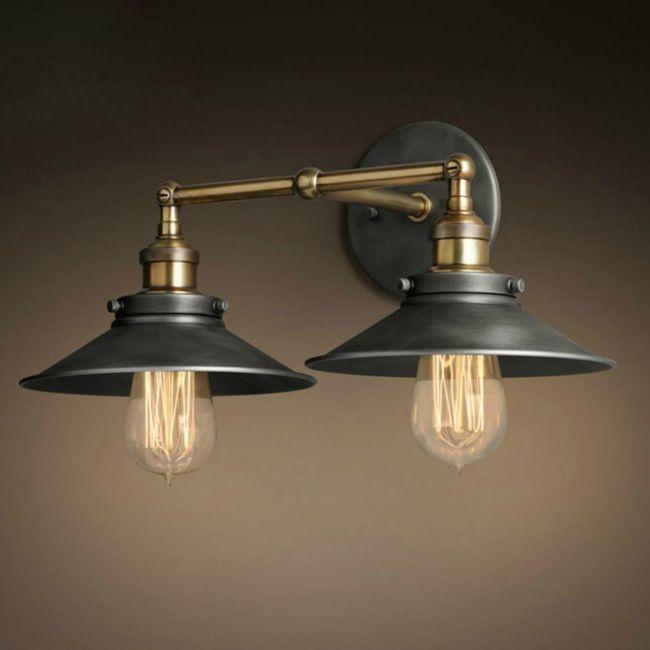 Настенные бра двойные насадки зонтик настенные светильники формы ретро промышленного E27 эдисон освещение железа ремесло декоративные бра купить на AliExpress