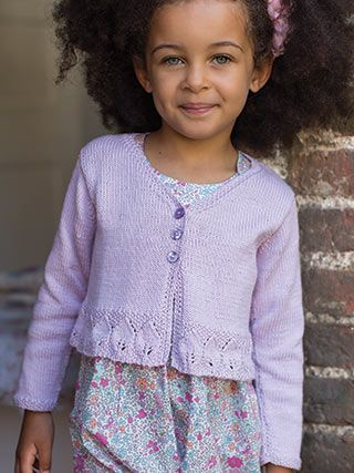 VIOLET from Little Rowan Blossom (ZB203). A collection for girls aged 3 to 6 years, featuring 15 designs by Linda Whaley | English Yarns