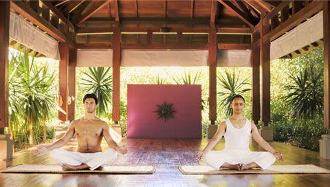 Yoga in the gazebo.