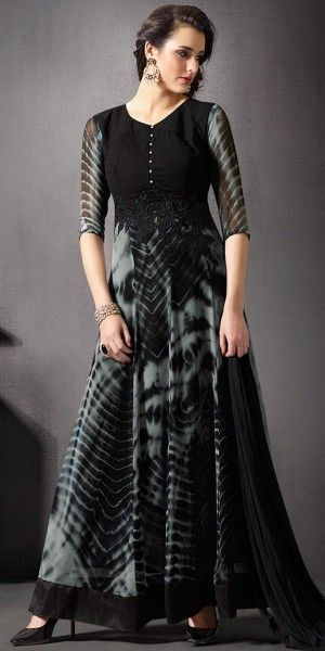 Ravishing Black And Grey Georgette Anarkali Suit With Chiffon Dupatta.