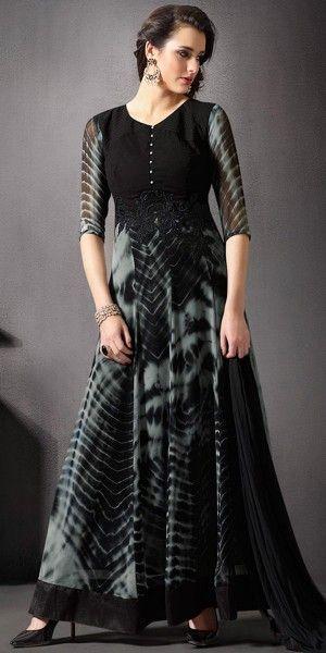 Ravishing Black And Grey Georgette Anarkali Suit With Chiffon Dupatta.