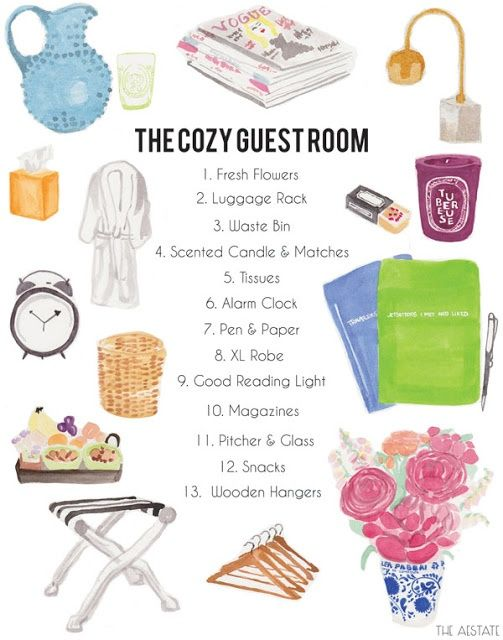 A guest room list to prepare you for your guests arrival....don't forget the Andes candy on the pillow....Krisi always requests that one!.....