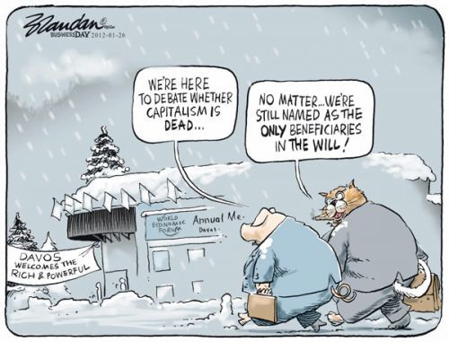 BRANDAN's cartoon in Business Day is a brilliant commentary on ideologies.     Under both capitalism and socialism, Greedy Pigs and Fat Cats will always hold sway.