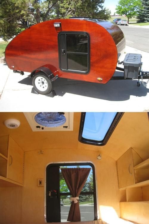 If you have the wherewithal to build a trailer from the ground up, check out this handcrafted classic teardrop trailer. The builder's blog documents the journey of its making: Built on just a 5′x8′ frame, this teardrop boasts a bed, a sunroof, electricity, a fan, cabinets and more. The dyed wood covered in several coats of epoxy give it a timeless artisanal look, and the rear galley makes it an awesome resource for when you're parked at a campsite