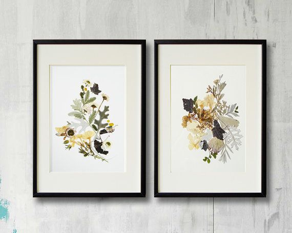 Set of 2 framed prints Plant art Contemporary art Dry flower #driedflowers #botanical #setof2 #pressedflowers #prints #botanicalprint #picture #flowers