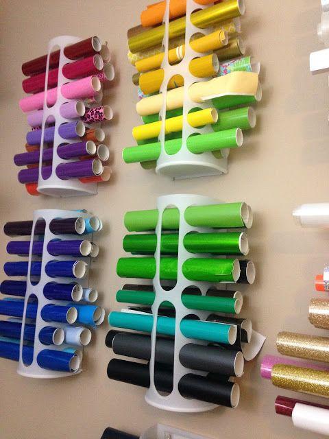 Cómo organizar tus vinilos | cheap vinyl orgnanizer craft room storage organize vinyl rolls