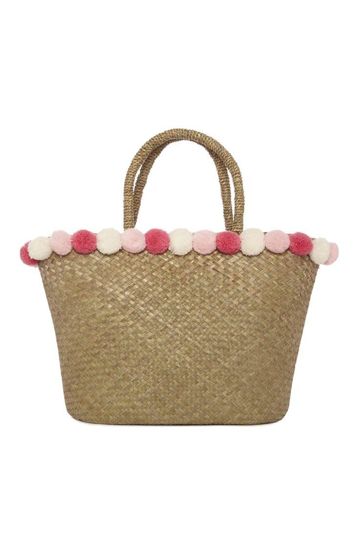 Primark - Strooien tas met roze bolletjes