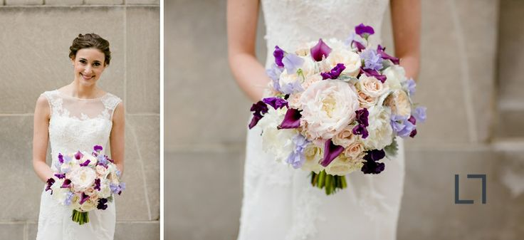 Floral by Avant Gardenia | purple and white wedding flowers | bridal bouquet | Loyola University Donovan Reading Room Wedding | Shannon and Luke Photo