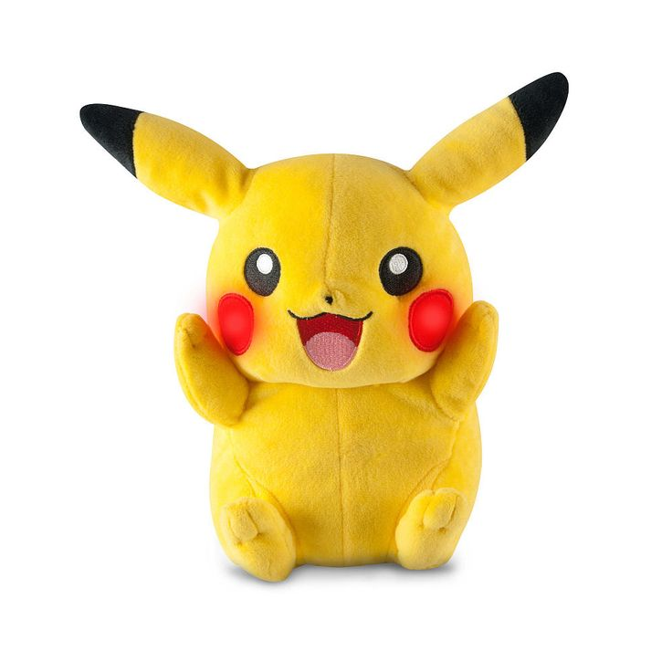 Become Pikachu's Trainer with the lovable My Friend Pikachu plush! My Friend Pikachu laughs and talks! My Friend Pikachu is 10 inch high with a soft yellow fabric. Pikachu has adorable red circles on its cheeks and features over 10 fun sounds and phrases! Press Pikachu's belly to make its ears move, its cheeks light up and to hear one of Pikachu's signature phrases from the show!<br><br>The Tomy Pokemon 10 inch Stuffed Figure - My Friend Pikachu Features:<br><...
