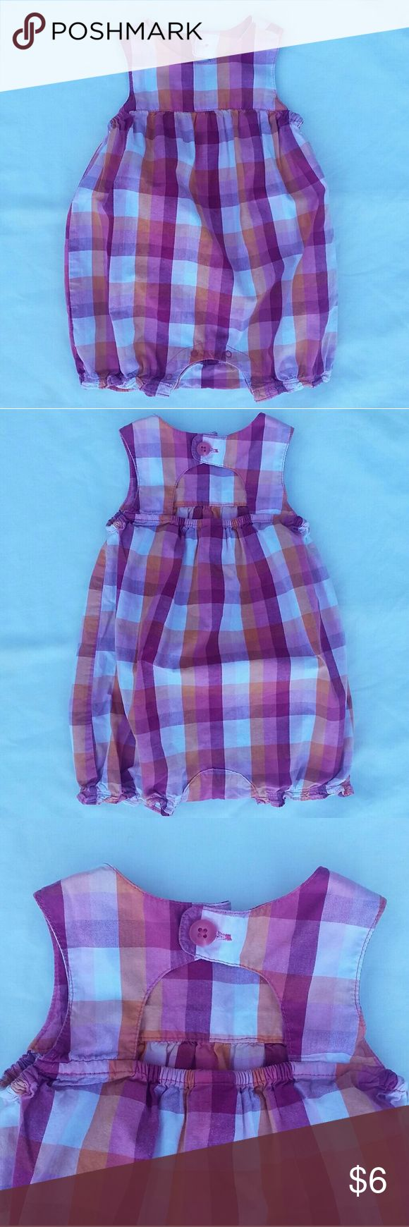 Plaid baby romper Sweet little pink, orange, and white plaid baby romper/jumper. Keyhole detail with a button on the back. Cute summer picnic outfit for your 6-12 month old. Great condition! Old Navy One Pieces Bodysuits