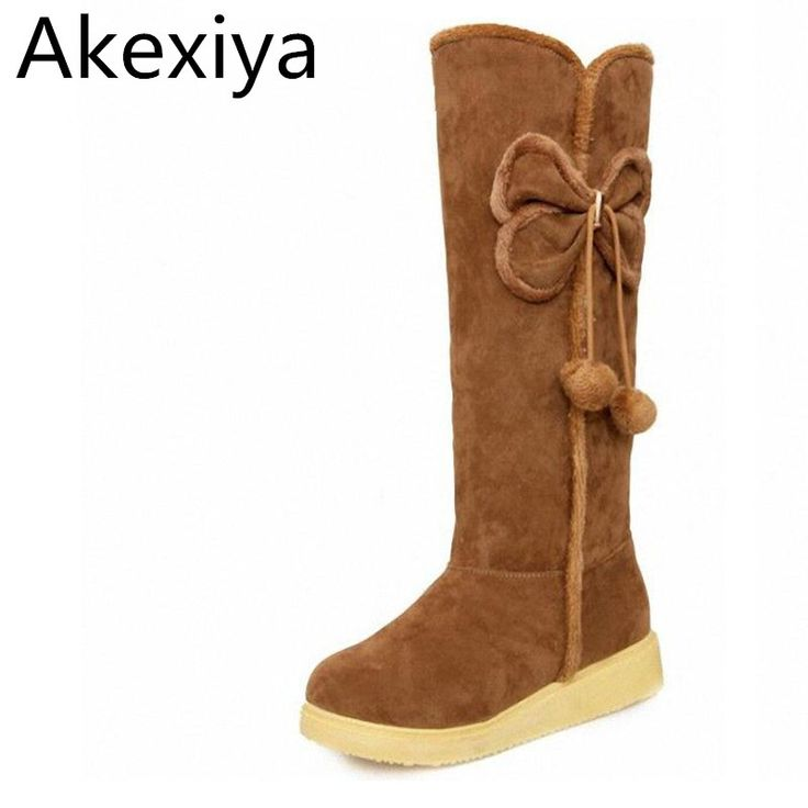 Akexiya Autumn Winter Snow Boots Tall Flats Shoes Boots Women Motorcycle Boots Warm Knee-High Boots Over The Knee Shoes Women