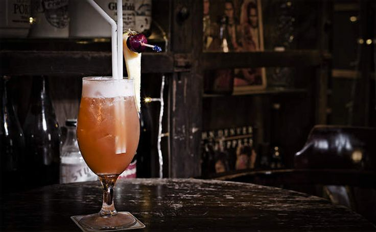 Singapore Sling - This extravagant cocktail was developed in 1915 by a bartender at the famous Raffles Hotel in Singapore. http://www.sbs.com.au/food/recipes/singapore-sling