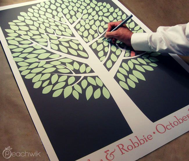 Wedding Guest Tree - The Modwik - A Peachwik Interactive Art Print - 250 guest sign in - Modern Tree Guestbook by peachwik on Etsy https://www.etsy.com/listing/82706380/wedding-guest-tree-the-modwik-a-peachwik