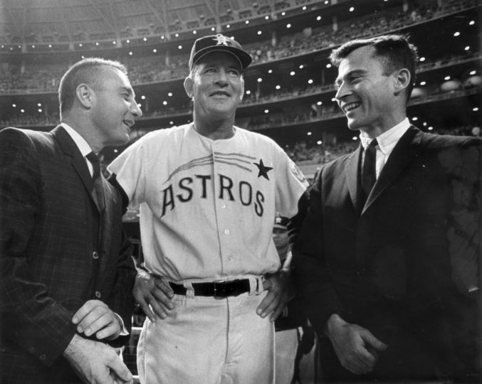 April 12, 1965 ... Gemini 3 astronauts Gus Grissom and John Young meet with Astros manager Luman Harris. Image source: Beaumont Enterprise.